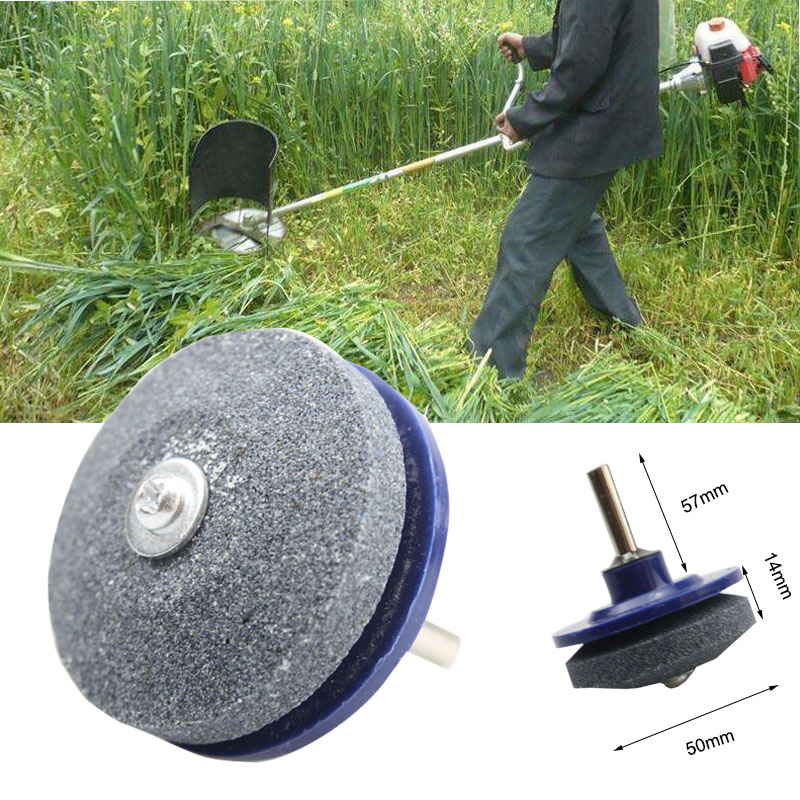 50MM Faster Lawnmower Blade Sharpener Universal Grinding Rotary Cuts Lawnmower Blade Sharpener Dril Sharpen Stone Grindstone