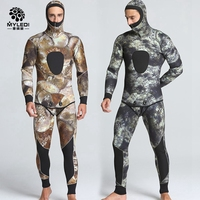 5 мм для мужчин 2 предмета камуфляж Рыбалка одежда подводной охоты гидрокостюм плавание серфинг мужской Гидромайки купальники Длинные рука