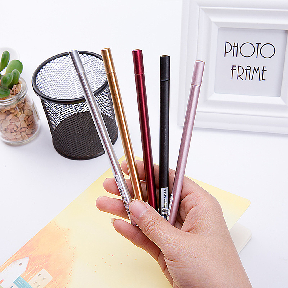 5 Colors 0.5mm Black Ink Simulation Metal Gel Pens Cute Netural Pens for Kids Gift Office School Supplies Student Stationery 1
