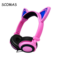 SCOMAS 3.5mm Foldable Headset for Phone Glowing Headphones for Children Girls Cartoon Headfone Head Phones for Mp3 Player Music