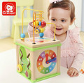Children's toys baby educational wooden multi-functional tetrahedron beaded round bead kit gift