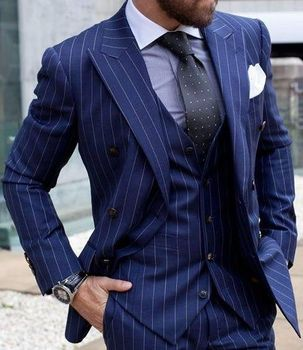 Navy Blue Striped Classic Smart Casual Business Blazer Jacket Custom Made 3 Pieces Slim Fit Men Suits With Pants Terno Masculino