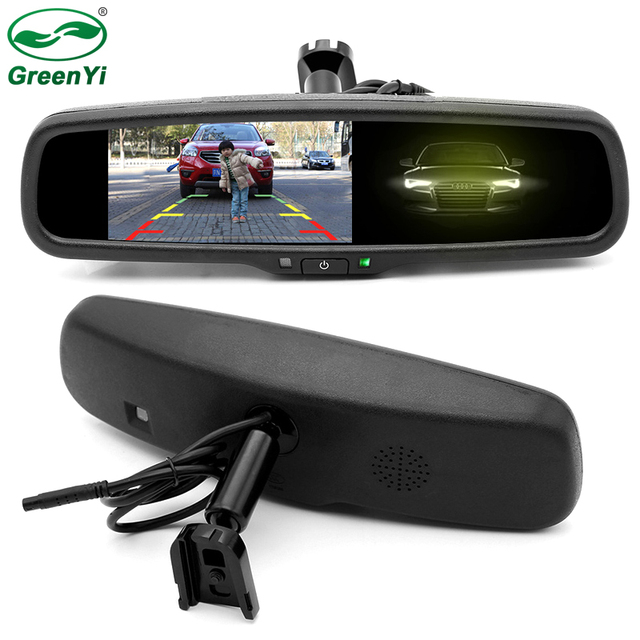 GreenYi HD 4.3 Inch Auto Dimming Anti Glare Rearview Mirror Parking Monitor With Original Bracket Connect to Rear View Camera