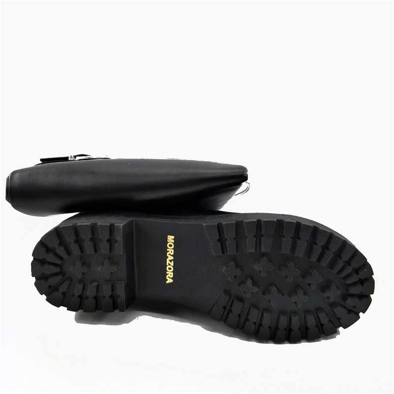MORAZORA üzerinde diz çizmeler kadın moda punk med topuklar ayakkabı çizmeler kadın kadın ayakkabı PU yumuşak deri büyük boy 34-43