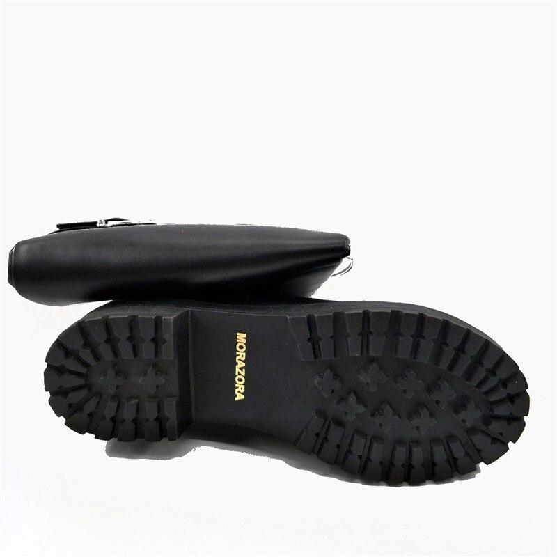 Image 5 - Morazora/Сапоги выше колена модные женские сапоги на среднем каблуке в стиле панк Женская обувь мягкая искусственная кожа, большие размеры 34 43-in Ботфорты from Обувь