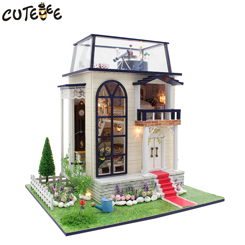 CUTEBEE Doll House Miniature DIY Dollhouse With Furnitures Wooden House Toys For Children Birthday Gift 3837 сумка tommy hilfiger am0am02623 002 black