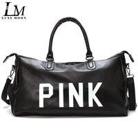 Fashion Girls PU Leather Pink Travel Bags Large Capacity Women Tote Duffle Bag Luggage Causal Trip Shoulder Weekend Bag