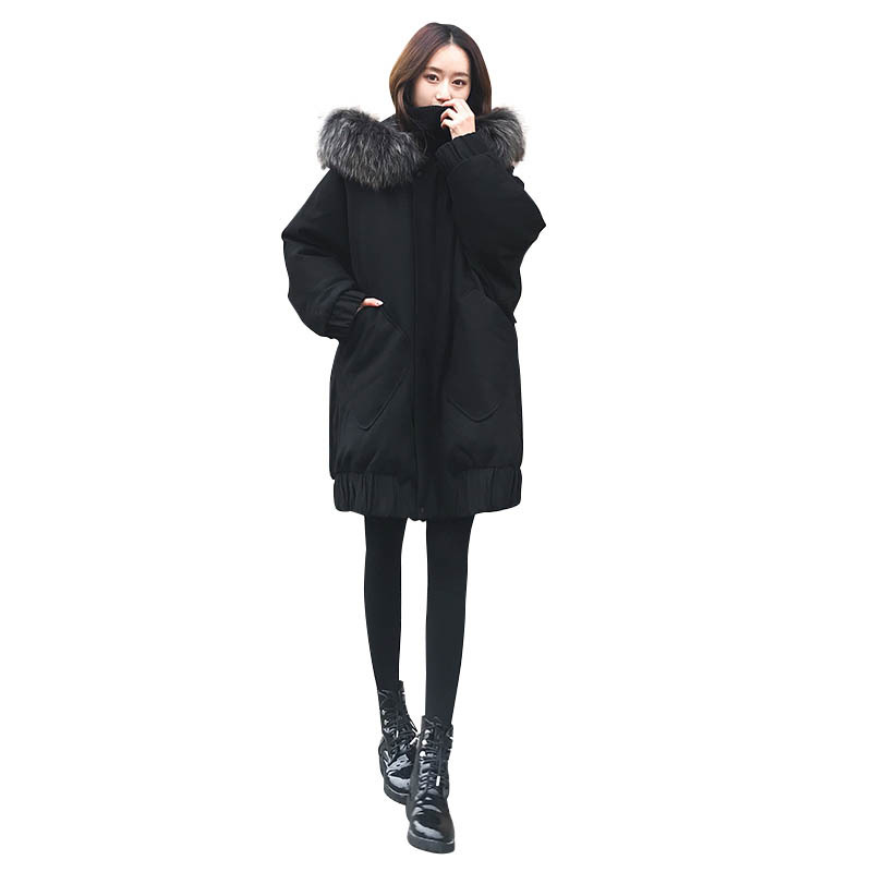 Female 2018 New Winter Long section Korean version of the Loose Thick Large Fur Collar Warm jacket More Size XS XXL
