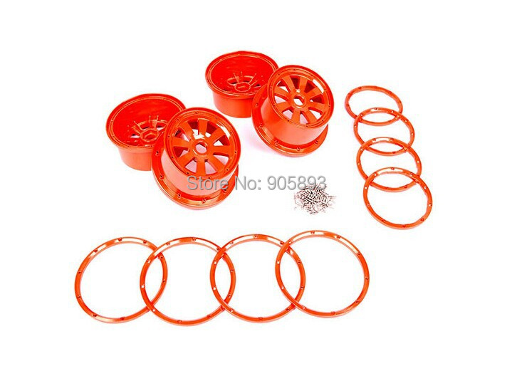 baja 5T/5SC alloy rim set. Orange color free shippings