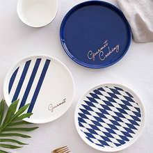 Nordic Blue White Stripes Ceramic Tableware Set Western Food Plate Bowls Breakfast Dish Salad Bowl Rice Bowl Dishes