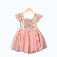 New Retail 2 8yrs Girls Frozen Dress Kid S 2015 Fly Sleeve Sequined Summer Dress Girl