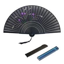 FEECOLOR 1PCS Silk Folding Fan Chinese Vintage Style Grass Flower Pattern Design Hand Held Fans  for Dancing Wedding Party Props