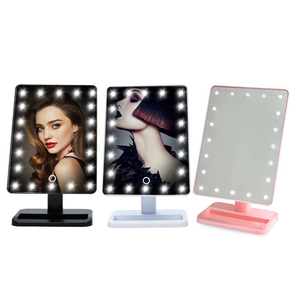 20 LED Makeup Mirror Beauty Cosmetic Make Up Tool With Illuminated Light Mirrors Desktop Stand Exquisite And Elegant Appearance