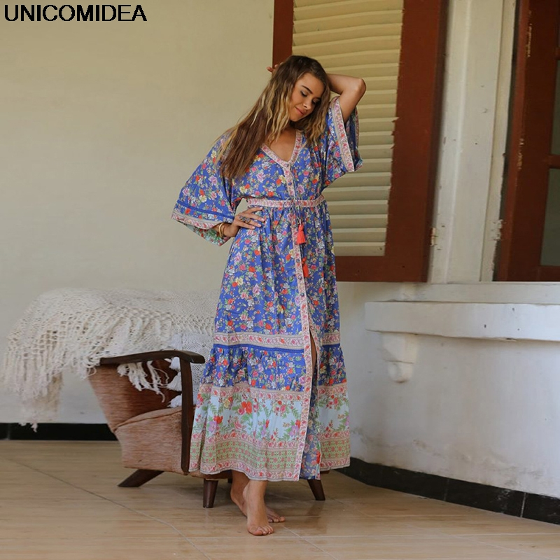 2019 Women Maxi Dress Floral Boho Beach Dress Button Bohemian Ethnic Dresses Lace Up Vestidos Femme Women Cardigans Two Way Wear