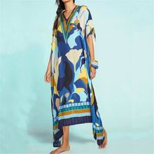 Women's Boho Floral Kaftan Dress Beach Tunic Long Maxi Dress Beach Cover Up Plus Size все цены