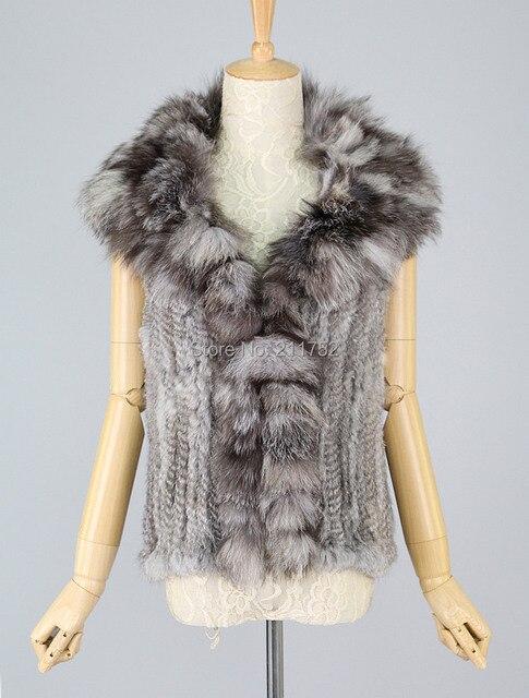 В продаже высококачественного натурального меха кролика трикотажные gilet жилеты с большой меховой воротник лиса на складе