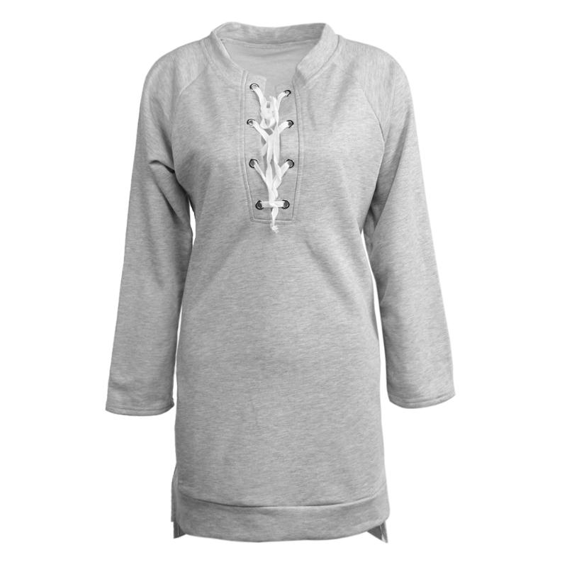 Fashion Sweatshirt Women European Cross Belt Design Concise Leisure Mid-Long Sweatershirts