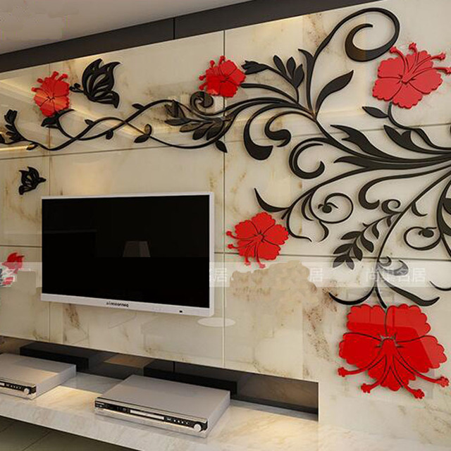 Vine 3 d solid crystal wall stickers The sitting room TV wall acrylic sweet bedroom wall of setting of sofa wall stickers