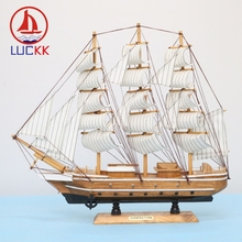 LUCKK 50CM Handmade Mediterranean Style Wooden Model Ships Home Decoration Wood Ornament Carfts Nautical SailBoat Figurine Gift