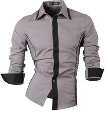 Jeansian Mens Fashion Dress Casual Shirts Button Down Long Sleeve Slim Fit Designer 8015 Gray