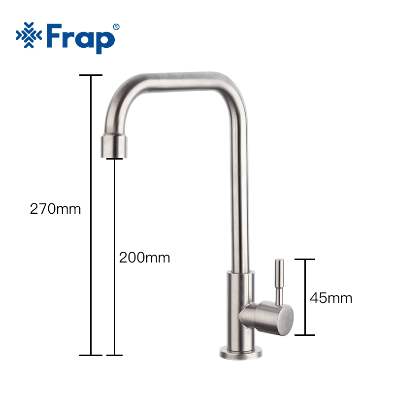 Image 2 - Frap Kitchen Faucet 304 stainless steel single cold water tap faucet sink tap 360 Degree Rotatio cold water single cold faucetKitchen Faucets   -