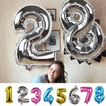 32inch Gold/Silver Number Foil Balloons Digit Air Ballons Happy Birthday Wedding Decoration Letter Ballon Event Party Supplies