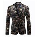 Outono inverno 2016 Estilo Italiano Homens Flor Jaqueta Blazer Ocasional Fino de Impressão Casaco de Veludo Jaquetas Hombre Tamanho Euro Z6825