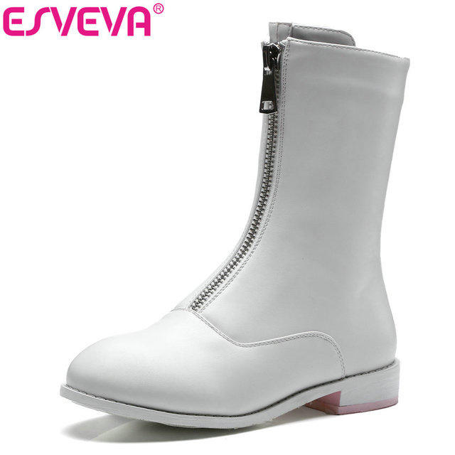 ESVEVA 2018 Women Boots Zipper PU Leather Mid-calf Boots Square Low Heel Round Toe Autumn Winter Ladies Solid Boots Size 34-43