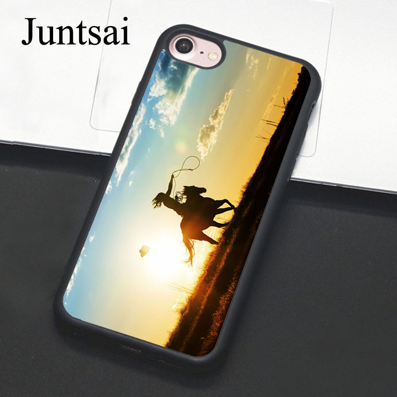 Juntsai Cowgirl Horse Sunset For iPhone 6 6s Plus Case Phone Cover Soft TPU Back Cases For iPhone X 6S 7 8 Plus 5 5s SE Coque