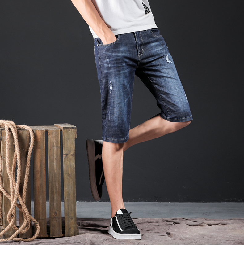 Mens Jeans Brand Ripped Biker Jeans Men Shorts Denim Pants Elastic Dark Blue Streewear Frayed Slim