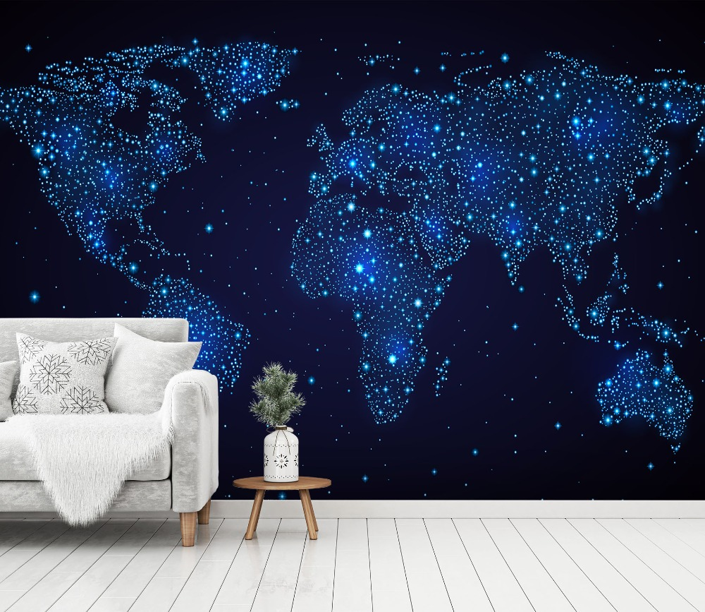 [Self-Adhesive] 3D Blue Starry World Map 77 Wall Paper Mural Wall Print Decal Wall Murals