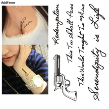 AddFavor 5PCS Black Pistol Gun Waterproof Temporary Tattoos Sticker Body Arm Art Lettering Fake Tattoo Kit Sticker Paster