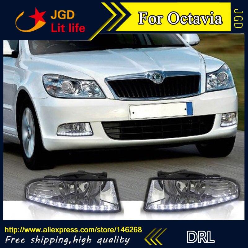 Бесплатная доставка ! 12В 6000K светодиодные DRL фары дневного света для Шкода Octavia 2010-2013 противотуманная фара стайлинга автомобилей
