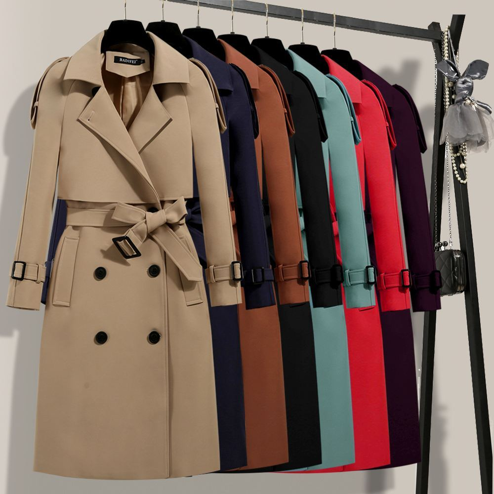 2019 Spring Autumn British New Women Double Breasted   Trench   Waterproof Elegant Vintage Classic Long Coat Clothing Plus Size X56