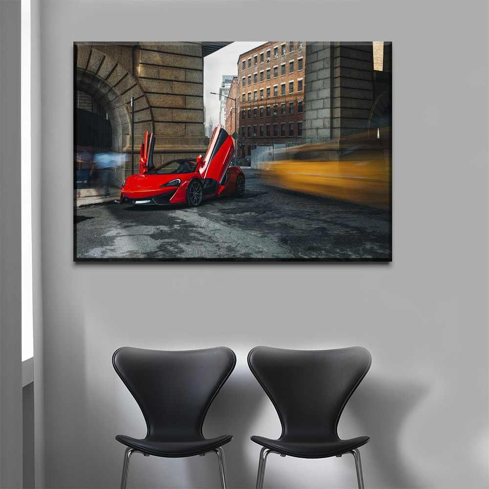Canvas HD Print Painting Home Decor Framework Modern One Set 4 Panel Red Sport Cars McLaren 570S Spider Poster Wall Art Decor