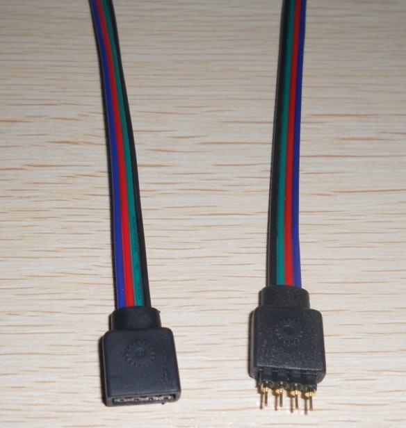 4pin male and 4pin female with 15cm long cable connector for 10mm rgb led strp