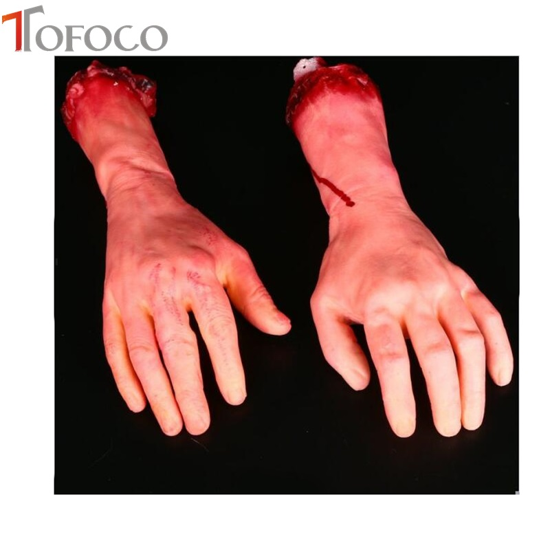 TOFOCO New Scary Toys for Party Bloody Fake Body Part Realistic Severed Arm Hand Walking Dead Halloween PropTOFOCO New Scary Toys for Party Bloody Fake Body Part Realistic Severed Arm Hand Walking Dead Halloween Prop