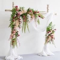 Роскошные белые розы с зеленой травой свадебный цветок стена искусственный Шелковый цветок фон свадебное украшение