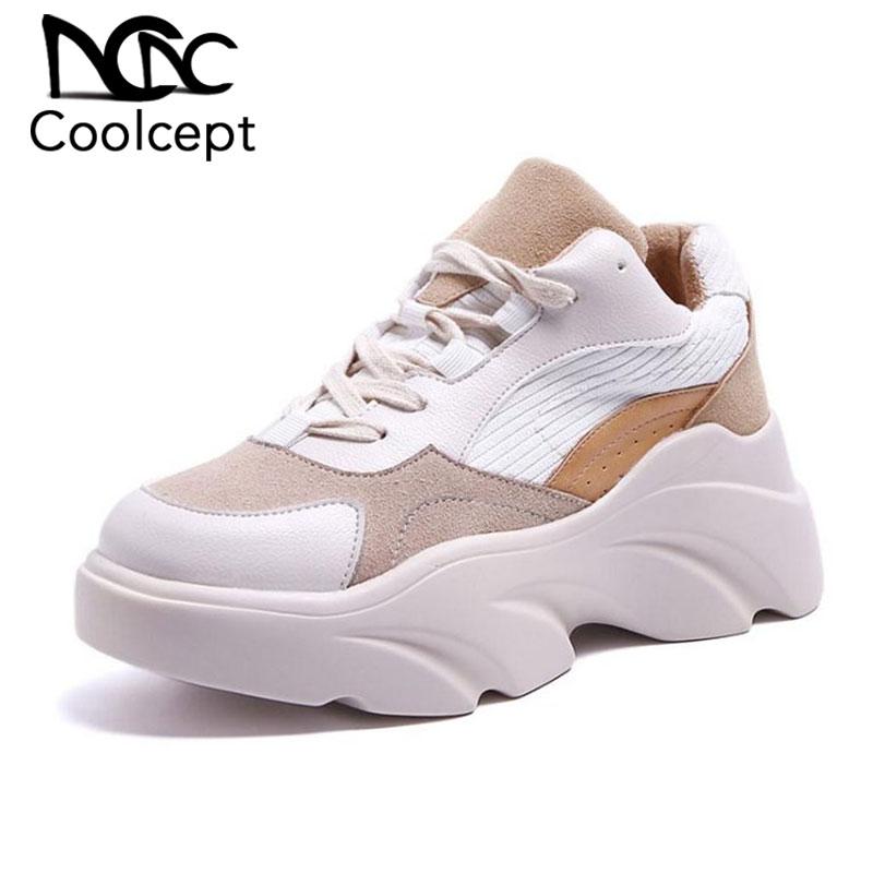 Coolcept/женские кроссовки на толстой подошве; повседневная обувь на платформе; женская летняя уличная брендовая новая прогулочная обувь; Размеры 35 40