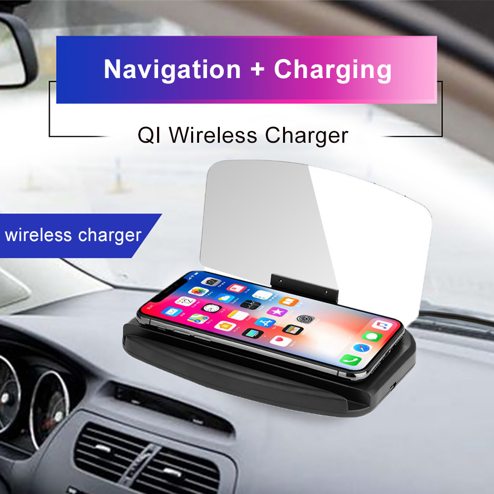 Wireless Charger Universal Car HUD Holder Head Up Display