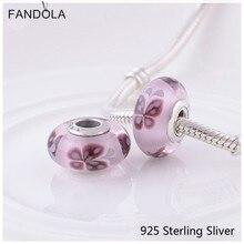 Murano glass beads fit pandora pulseras 100% 925 joyería de plata esterlina pink butterfly kisses encantos diy originales