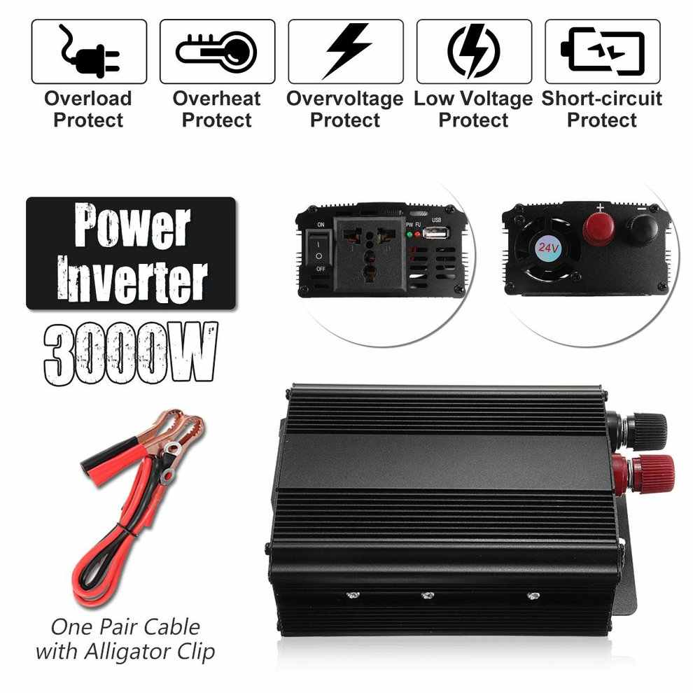 3000W de alta potencia 12V a 220V inversor de potencia con puerto USB transformador de carcasa de aleación de aluminio de alta conversión