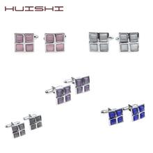 цены HUISHI Mens Classic silver Initial Cufflinks Stone Cufflinks Formal Business Wedding Shirts