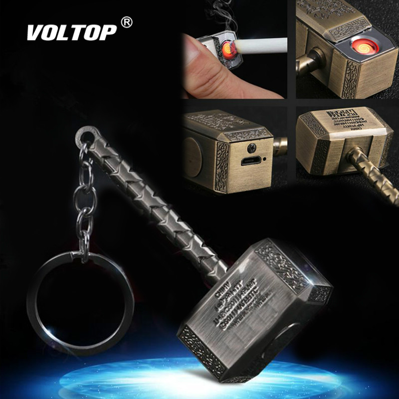 Mini Hammer Cigarette Lighter Car Accessories Keychain Pendant Electronic Gadgets Car Socket Usb Charger Adapter Creative Hero