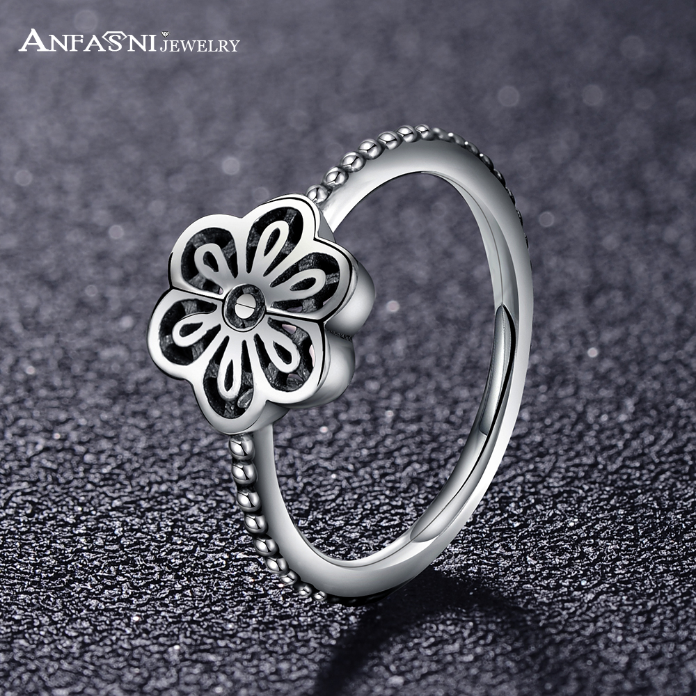 anfasni hight quality floral daisy lace gorgeous 925 sterling silver traditional jewelry classic women rings psri0050 - Traditional Wedding Rings