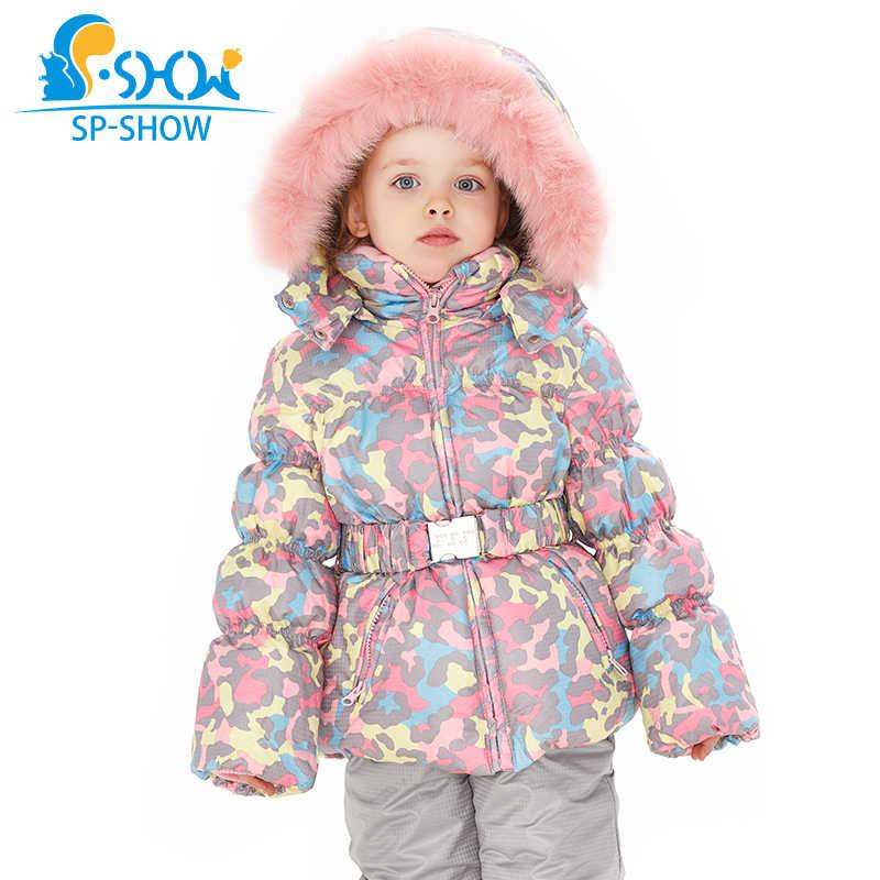 SPSHOW/детская зимняя одежда для девочек Роскошная брендовая От 3 до 8 лет теплая зимняя флисовая куртка на пуху куртка с меховым капюшоном + брюки лыжный костюм