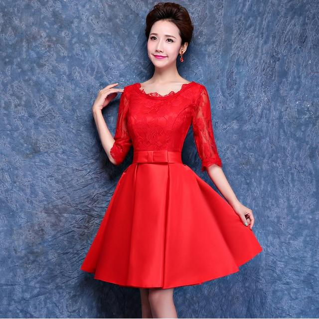 cc2b85c7d348 € 38.47 |Negro mujeres media manga vestido de 2017 de encaje rojo corto  satén de dama de honor damas de honor de la bola vestidos de llevar a la  boda ...