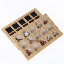 Hot selling Bamboo 15 Grids Jewelry Display Tray Earrings Nexklaces Pendants Rings Props Simple Packaging sales