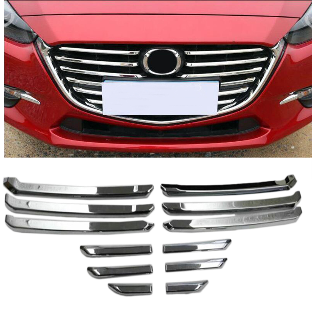 12pcs ABS Chrome Plastic Auto Front Center Grille Cover Racing Grill Trim for Mazda 3 M3 Axela 2017 2018 Car Styling for toyota prado 2018 abs front center grille cover racing grill trim car protective decoration exterior styling accessory