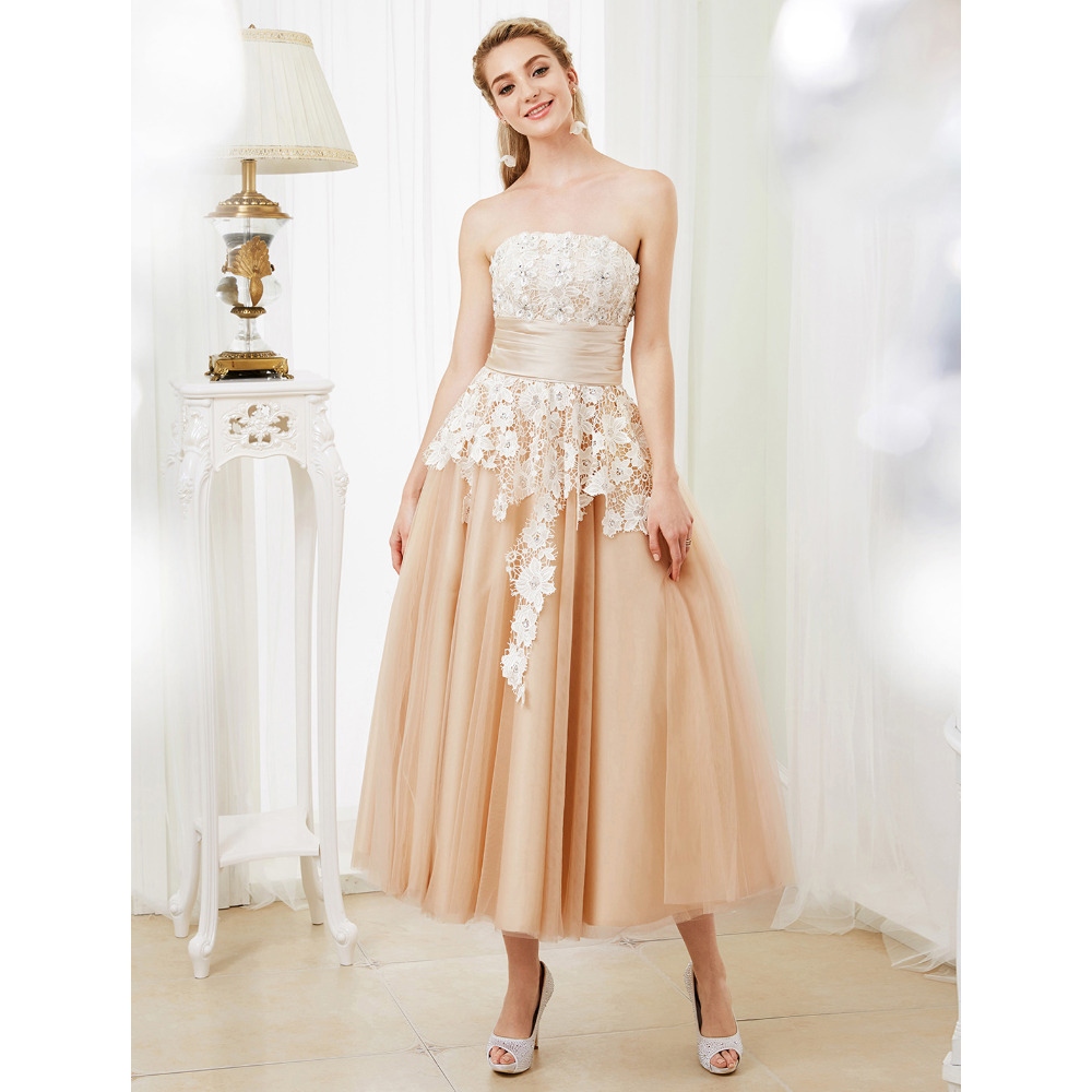 LAN TING BRIDE Ball Gown Wedding Dress Strapless Tea